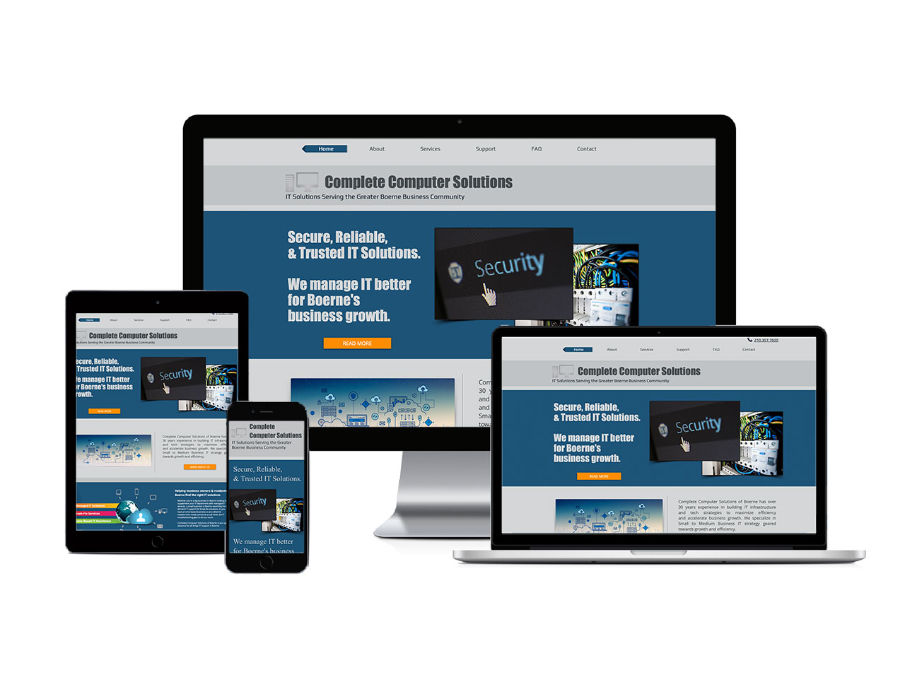 Responsive devices showcasing Complete Computer Solutions Website