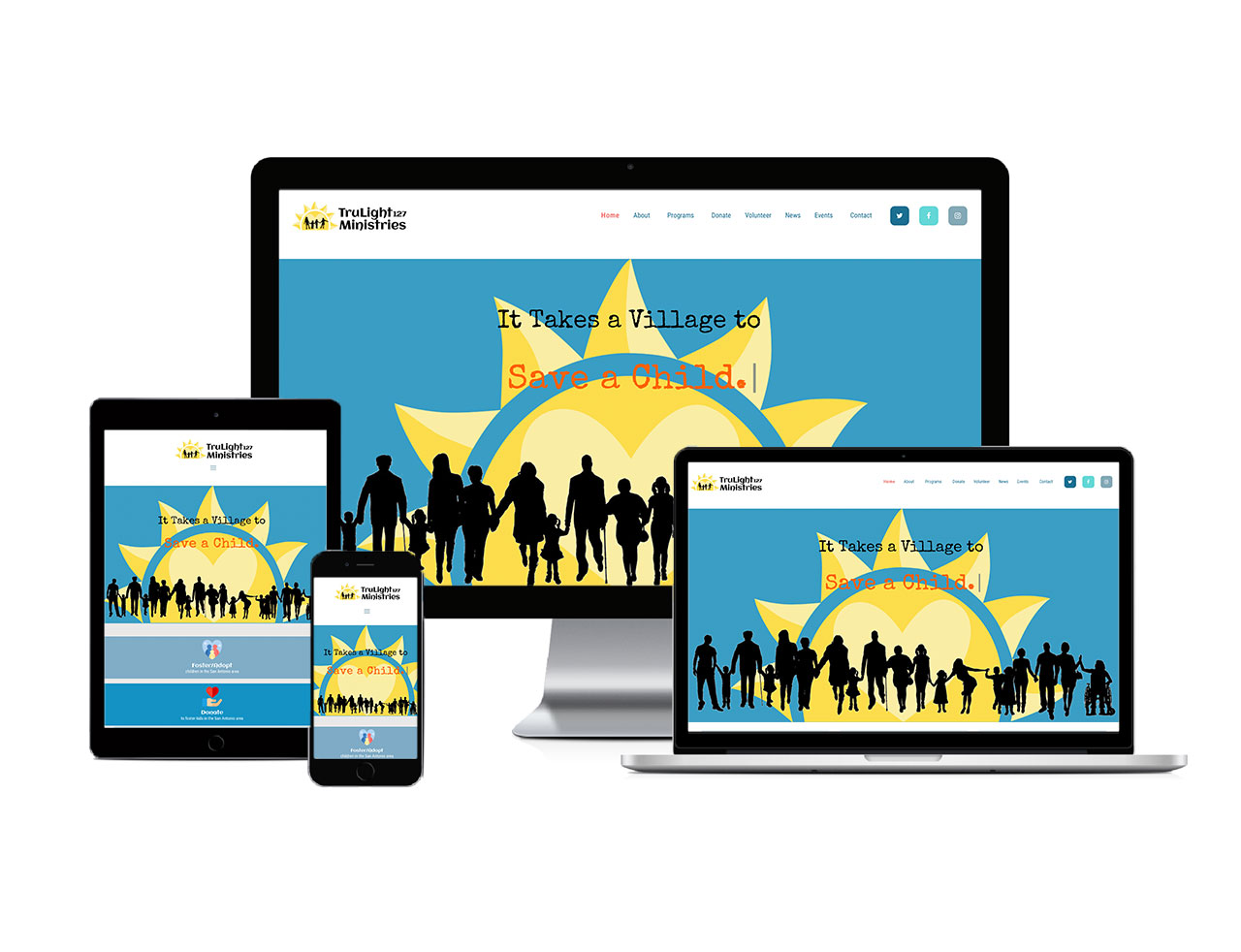 Responsive devices showcasing TruLight127 Ministries Website